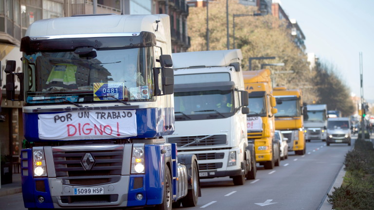 Truckmen Rally In Barcelona To Demand Better Working Conditions