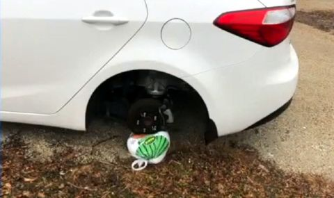 Крадец на гуми остави подарък за Деня на благодарността
